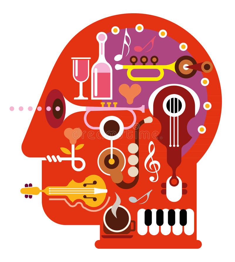 Music Head. Abstract music head - isolated vector illustration on white background. Musical minds