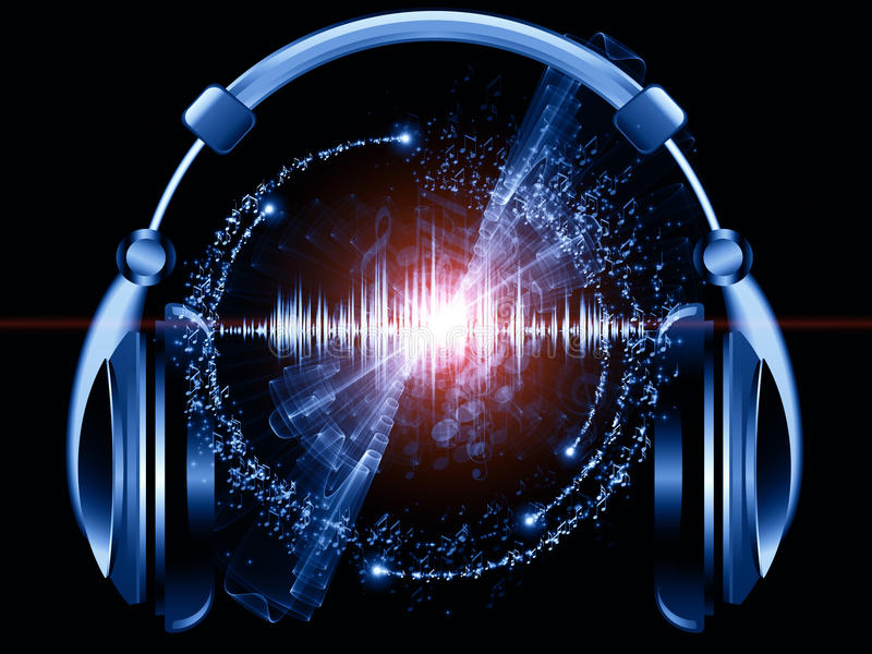 Music of headphones vector illustration