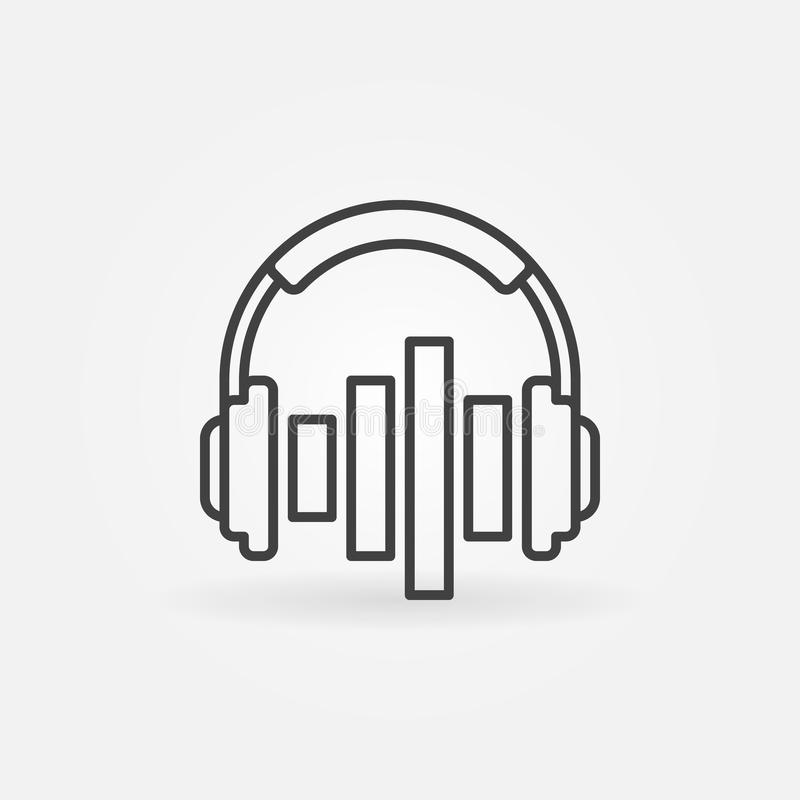 Music headphones with equalizer vector icon in outline style royalty free illustration
