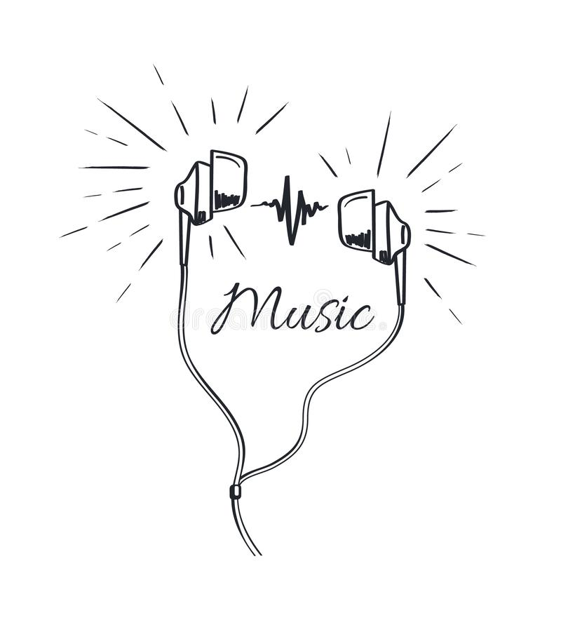 Music Headphones with Loud Sounds Playing Sketch stock illustration