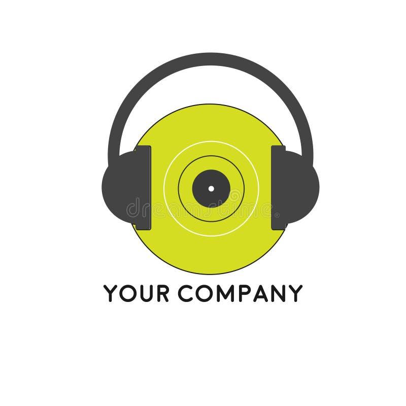 Music Headset Logo Design Template, Element Design. Music store. Vector illustration isolated on white background royalty free illustration