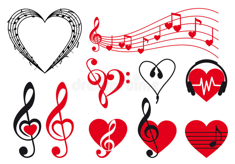Music hearts, vector royalty free illustration