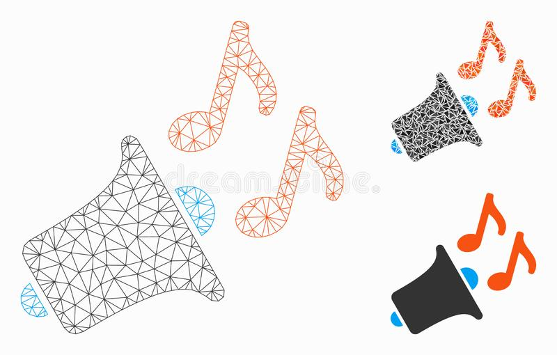 Music Horn Vector Mesh Carcass Model and Triangle Mosaic Icon. Mesh music horn model with triangle mosaic icon. Wire carcass polygonal mesh of music horn. Vector stock illustration
