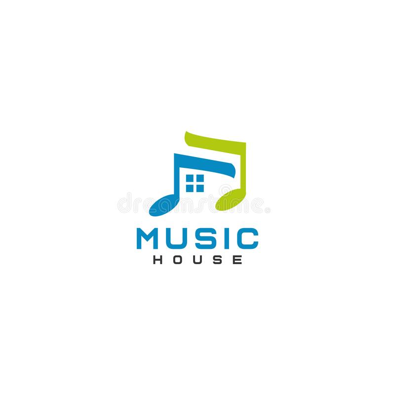 Music House Logo Design Abstract Flat Style stock illustration