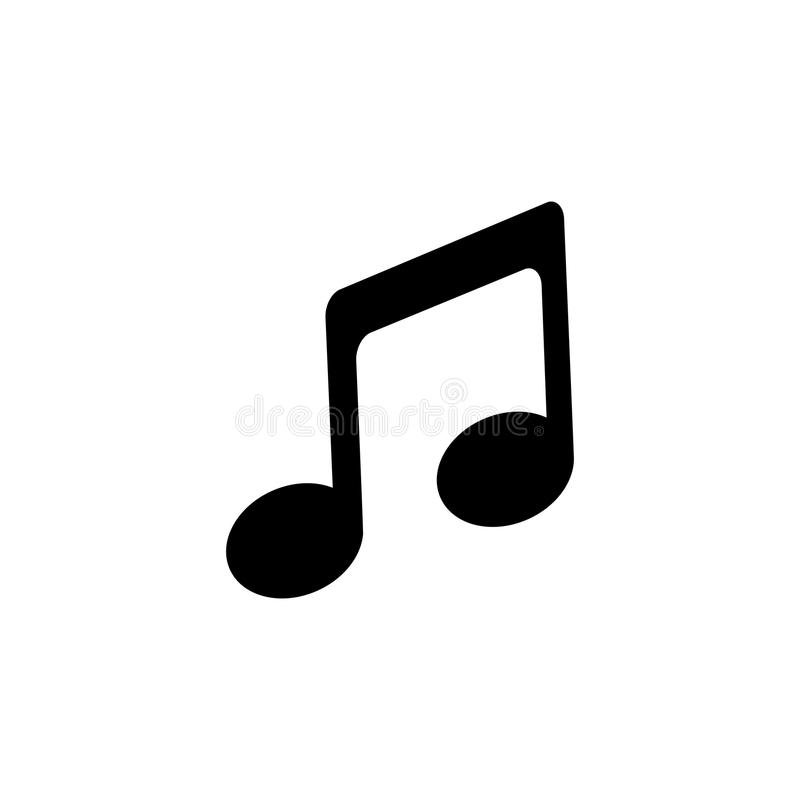 Music icon in flat style. Musical note icon. Isolated on white background. Sound symbol. Simple abstract music icon in black. Vector illustration for graphic stock illustration