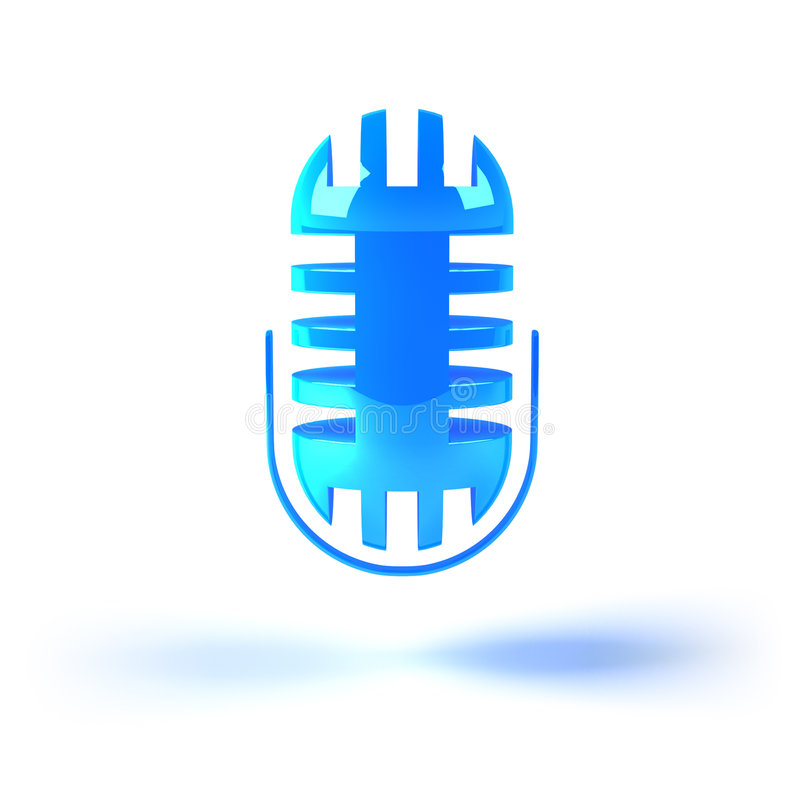 Music icon : microphone. 3D stylish music icon : microphone vector illustration