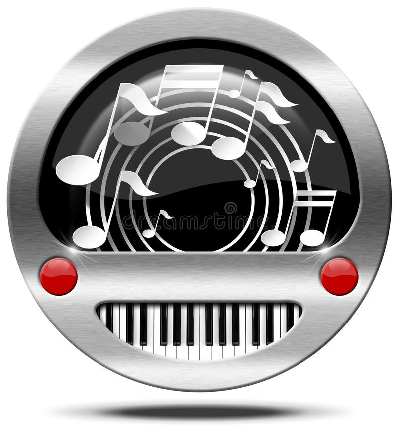 Music Icon Piano Keyboard And Notes Stock Illustration