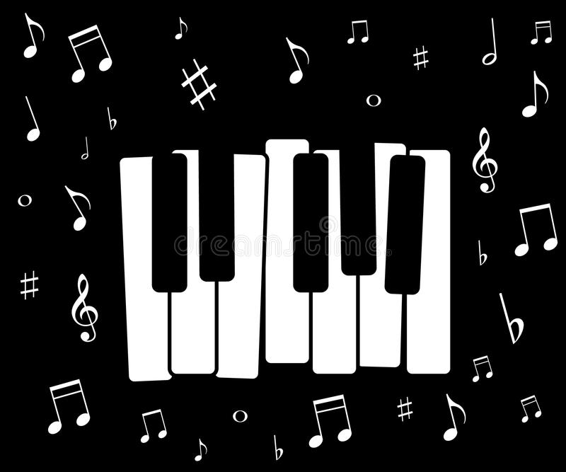 Music icon, with piano and musical notes royalty free illustration