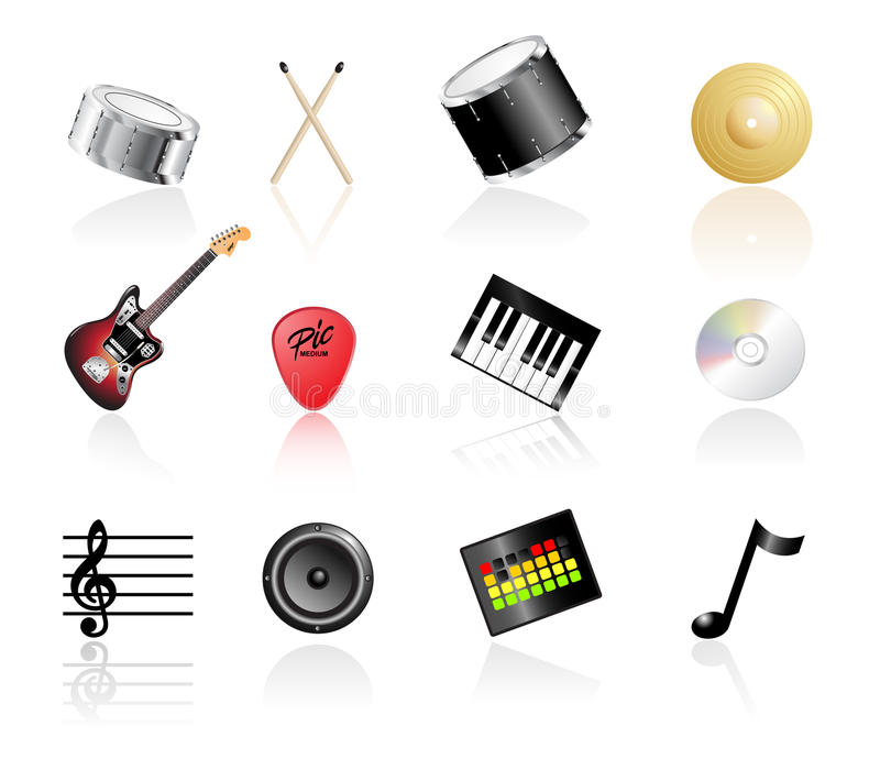 Music Icon Set. Illustrated Music Icon Set on White Background with Reflections