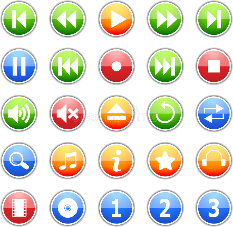 Download Music Icon Set stock vector. Image of download, internet - 13006446