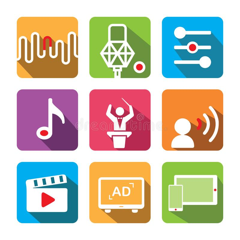 Music icon set. Including: Tune, recording microphone, equalizer, music note, conductor, voice over, film, advertisement, tablet, royalty free stock images