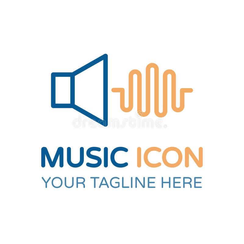 Music icon with a speaker and a sound wave. Vector thin line royalty free illustration