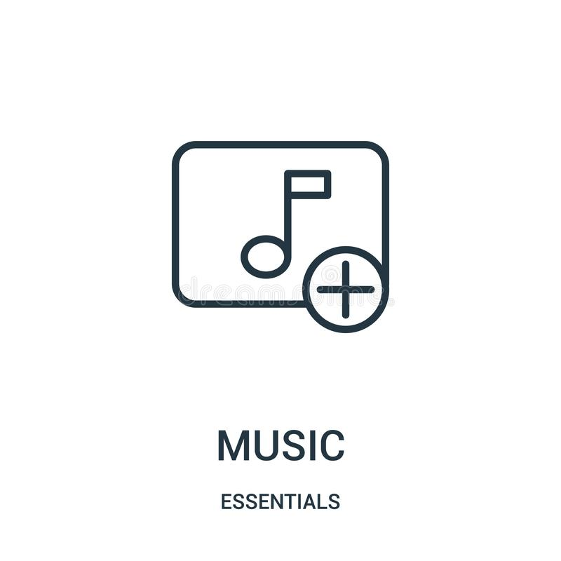 music icon vector from essentials collection. Thin line music outline icon vector illustration. Linear symbol for use on web and stock illustration