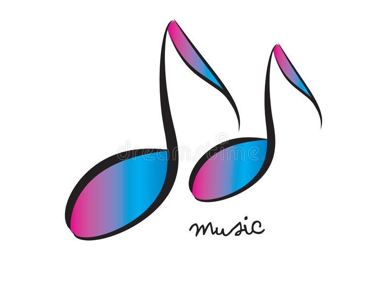 Music logo design template, musical note of floral shapes, web icon royalty free illustration