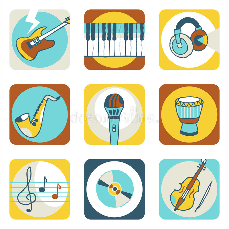 Music icons stock photos
