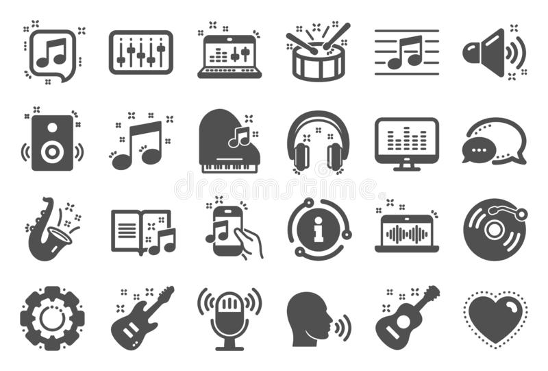 Music icons. Set of Acoustic guitar, Musical note and Vinyl record. Vector. Music icons. Set of Acoustic guitar, Musical note and Vinyl record. Jazz saxophone stock illustration