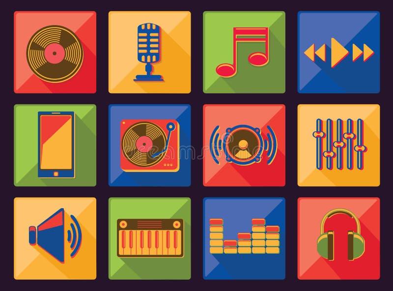 Music icons. Vector flat set royalty free illustration