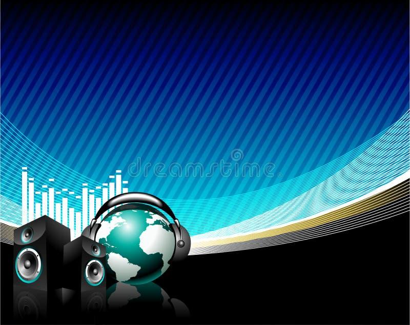 Music illustration. With speaker and globe vector illustration