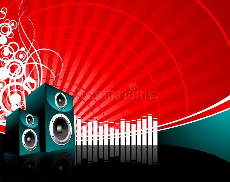 Music illustration with speaker. On red background stock illustration