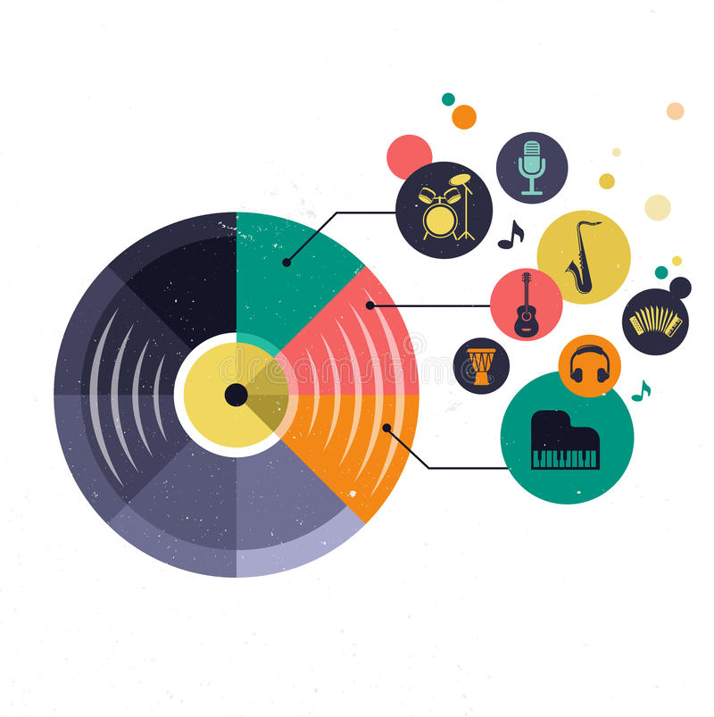 Music infographic and icon set of instruments vector illustration