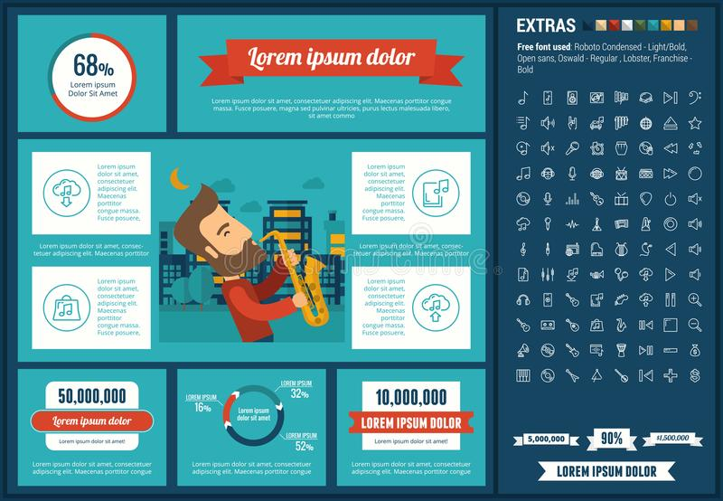 Music flat design Infographic Template. Music infographic template and elements. The template includes illustrations of hipster men and huge awesome set of thin vector illustration