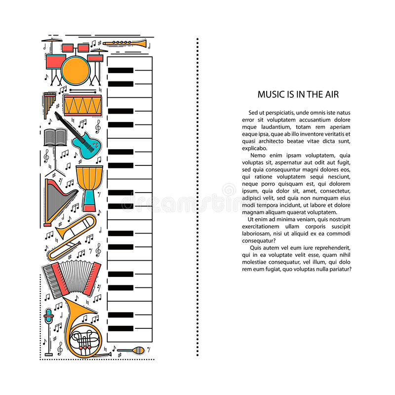 Music instrument line icons in piano shape. Art musical brochure element. Vector decorative greeting card or invitation vector illustration