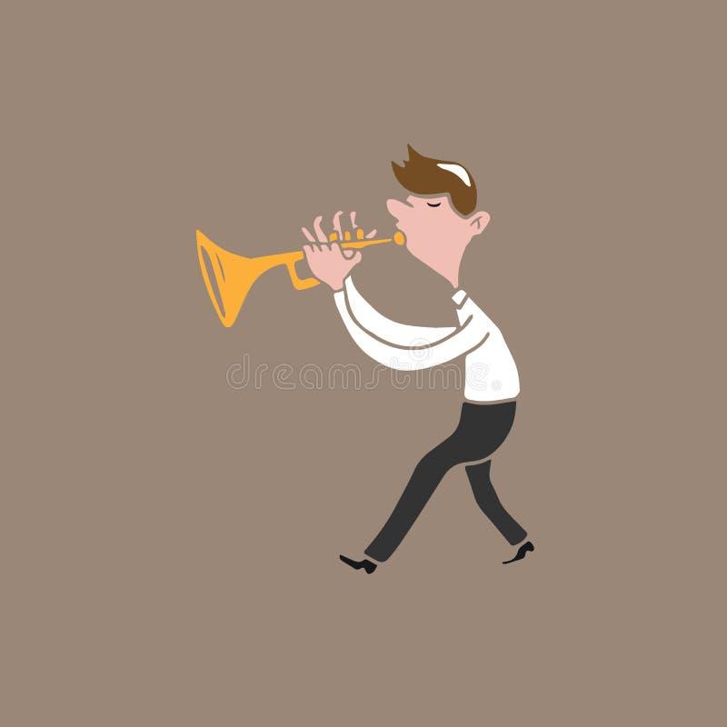 Music instrument man trumpet. Music instrument man blowing trumpet royalty free illustration