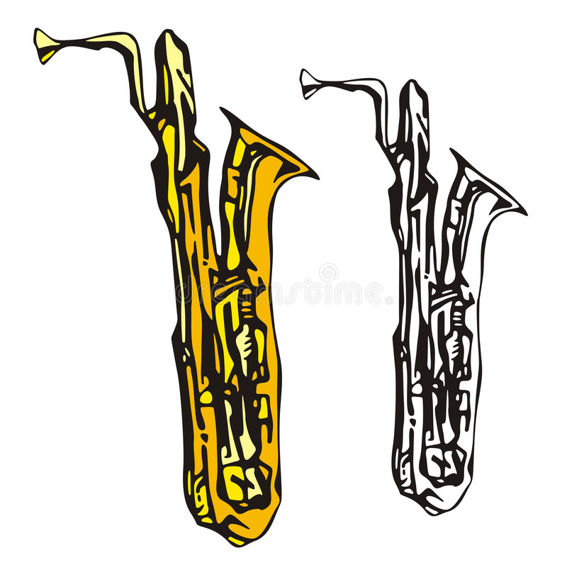 Music instrument series. Vector illustration of a wind instrument, in color and black and white renderings stock illustration