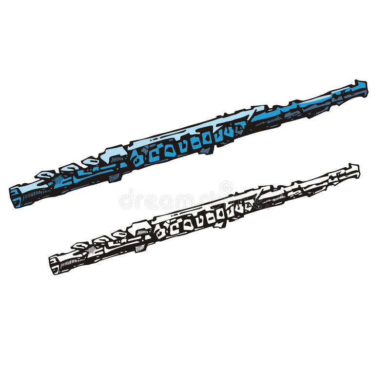 Music instrument series. Vector illustration of a clarinet, in color and black and white renderings stock illustration