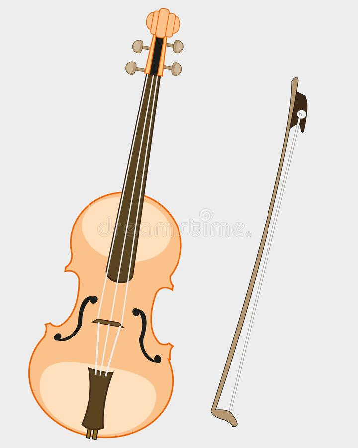 Music instrument violin and joining. On white background is insulated royalty free illustration