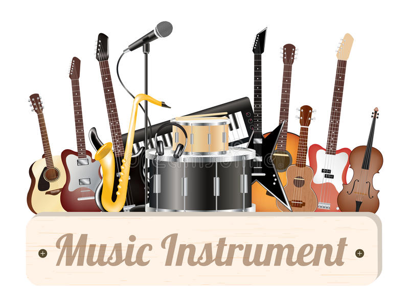 Music instrument wood board with electric acoustic guitar bass drum snare violin ukulele saxophone keyboard microphone and headpho vector illustration