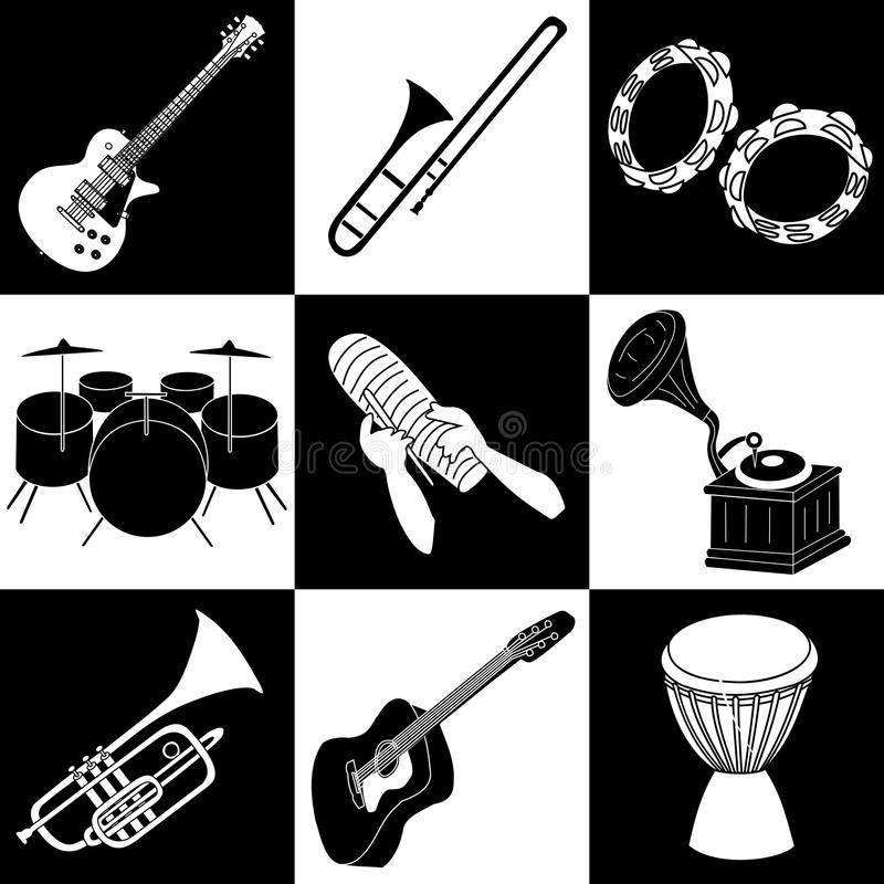 Download Music instruments stock vector. Image of contrast, guiro - 9971283