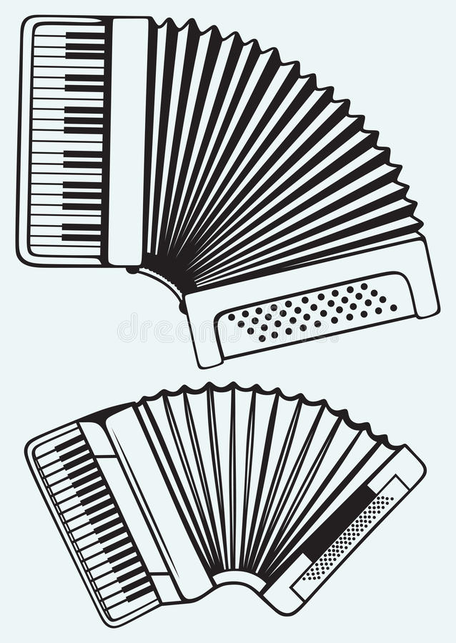Music instruments. Accordion. Isolated on blue background royalty free illustration