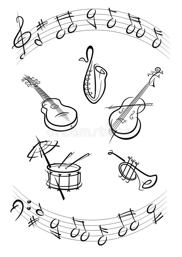 Download Music instruments black stock vector. Image of guitars - 13374655