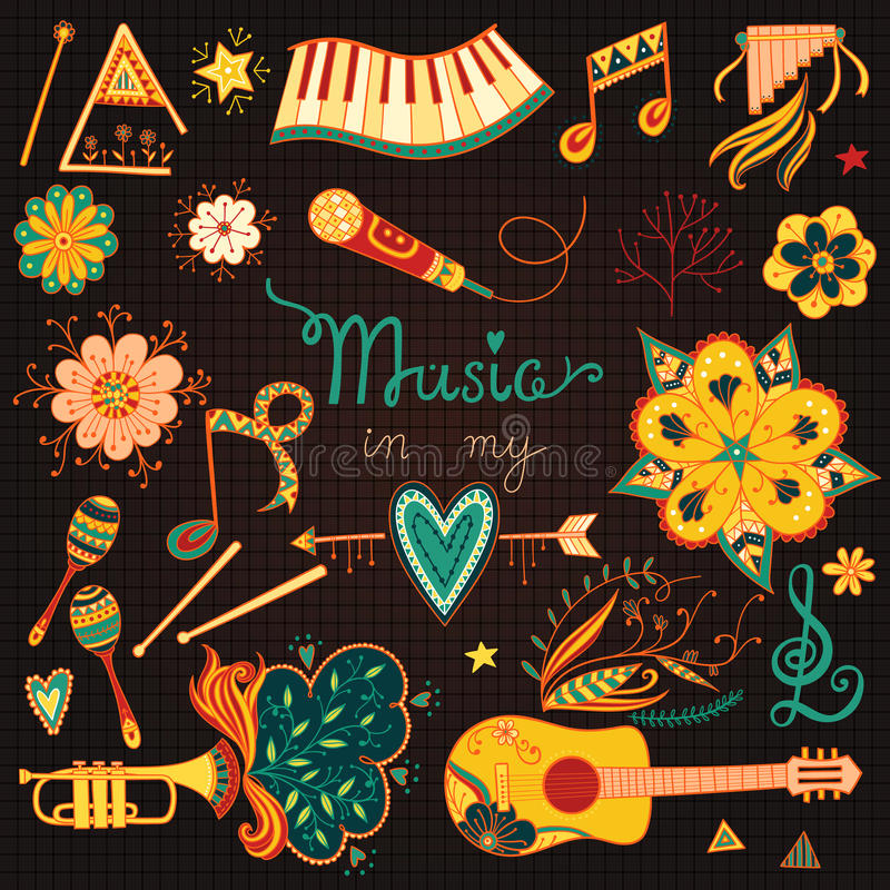 Download Music Instruments And Elements Stock Vector - Image: 62352820