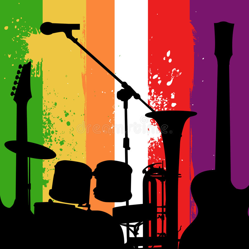 Music instruments grunge background royalty free illustration