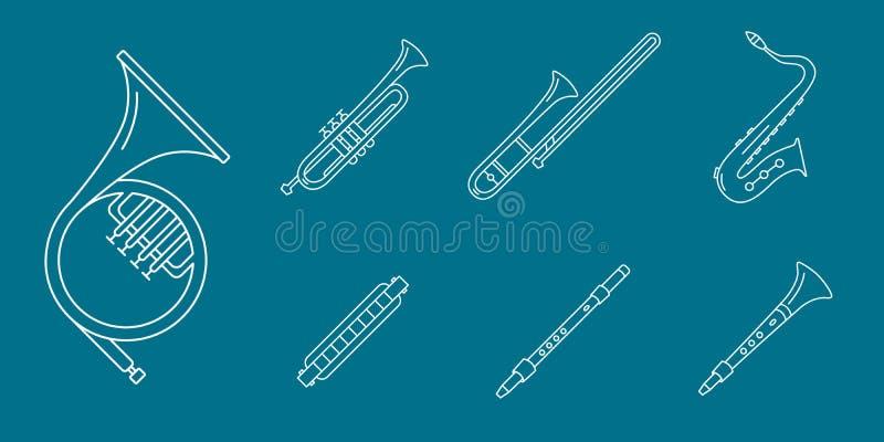 Music-instruments-icons-set-05 illustrazione vettoriale