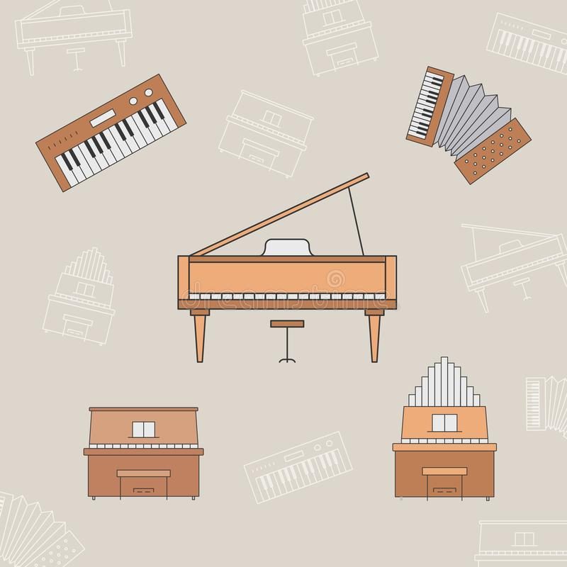Music instruments Icons set 15. Music instruments Icons set - Vector color symbols and outline of piano, accordion, bayan and synthesizer for the site or stock illustration
