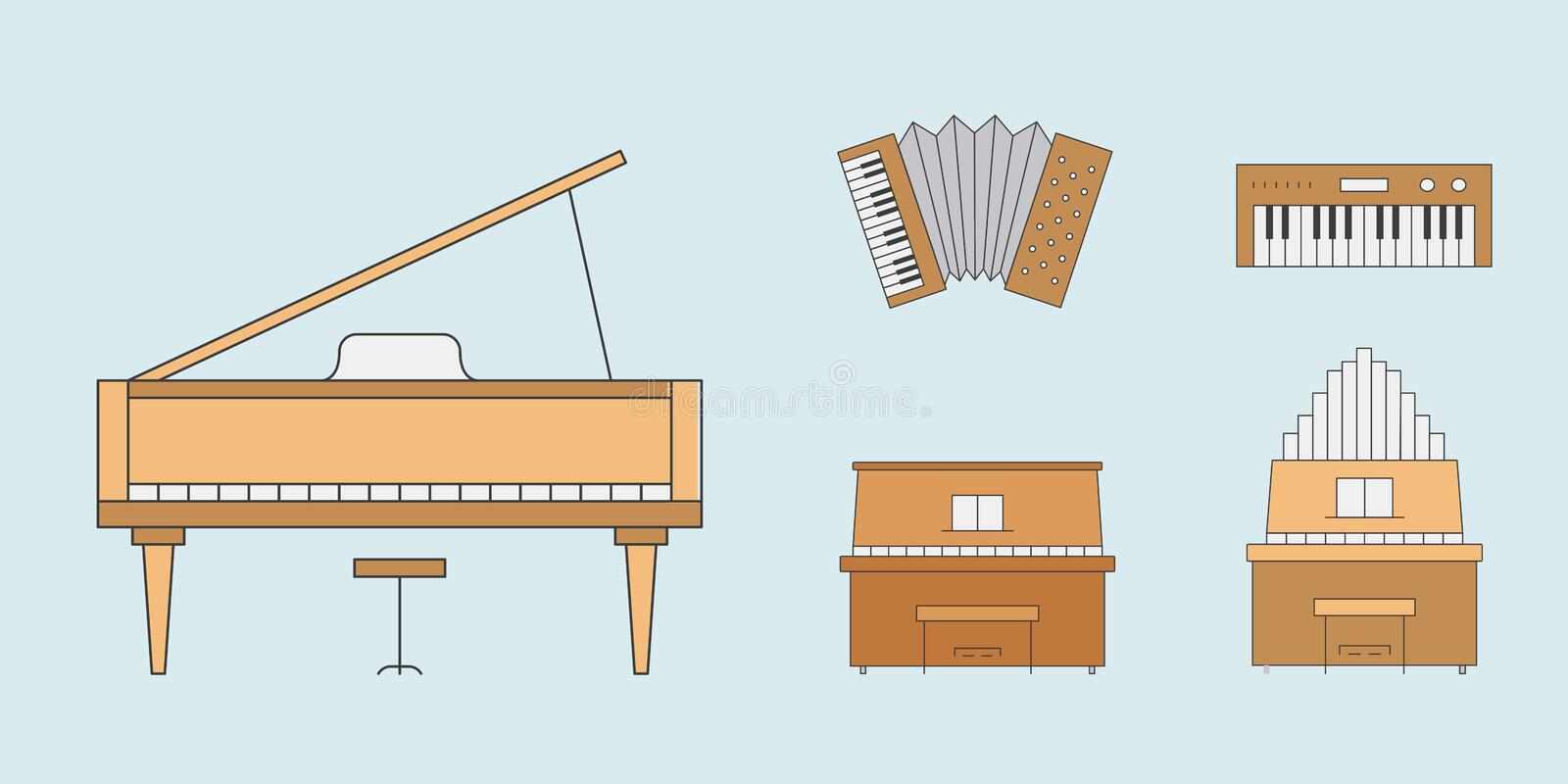 Music instruments Icons set 10. Music instruments Icons set - Vector color symbols of piano, accordion, bayan and synthesizer for the site or interface vector illustration