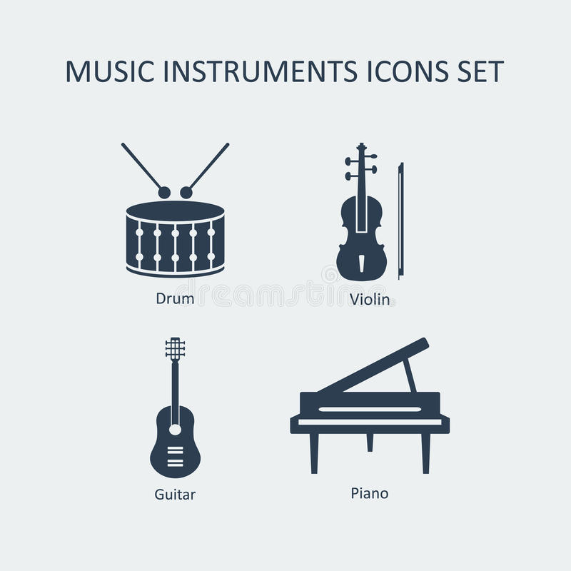 Music instruments icons set. Vector vector illustration