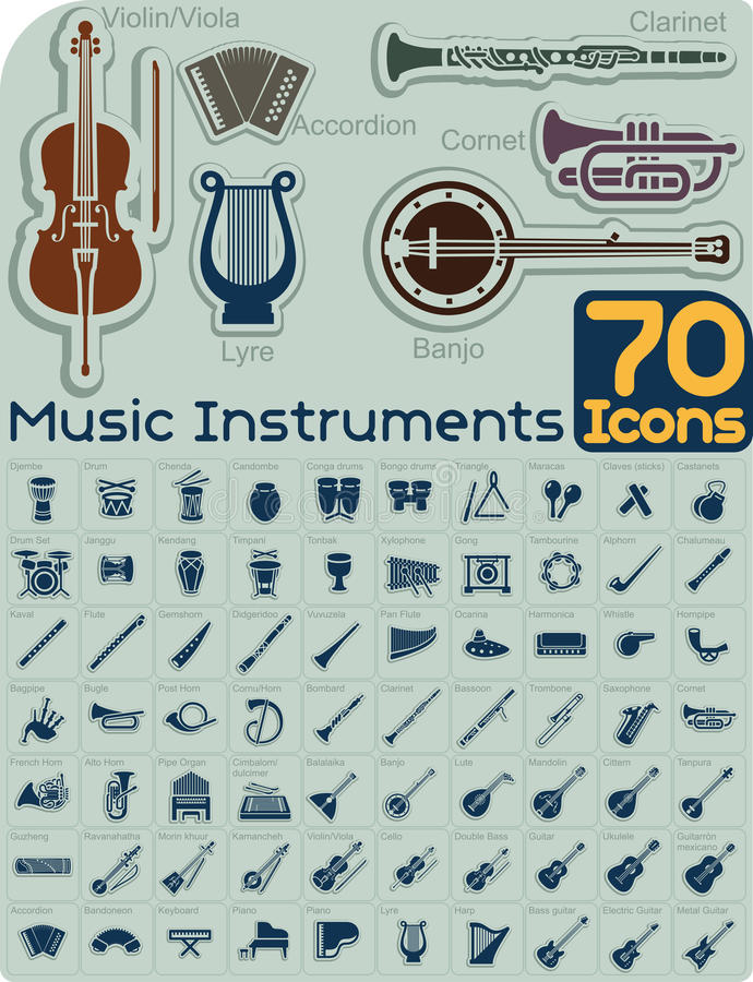 70 Music Instruments Icons Vector Set. Extensive music instruments icons collection organized by type. File type: vector EPS AI8 compatible. No transparencies vector illustration