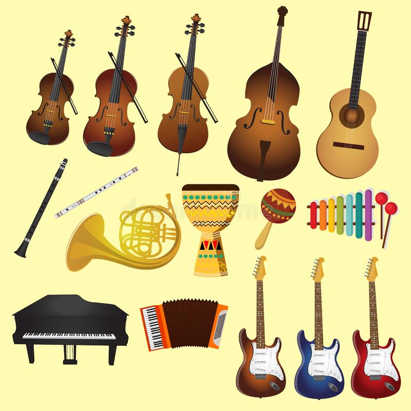 Music and music instruments like guitars violin piano vector illustration
