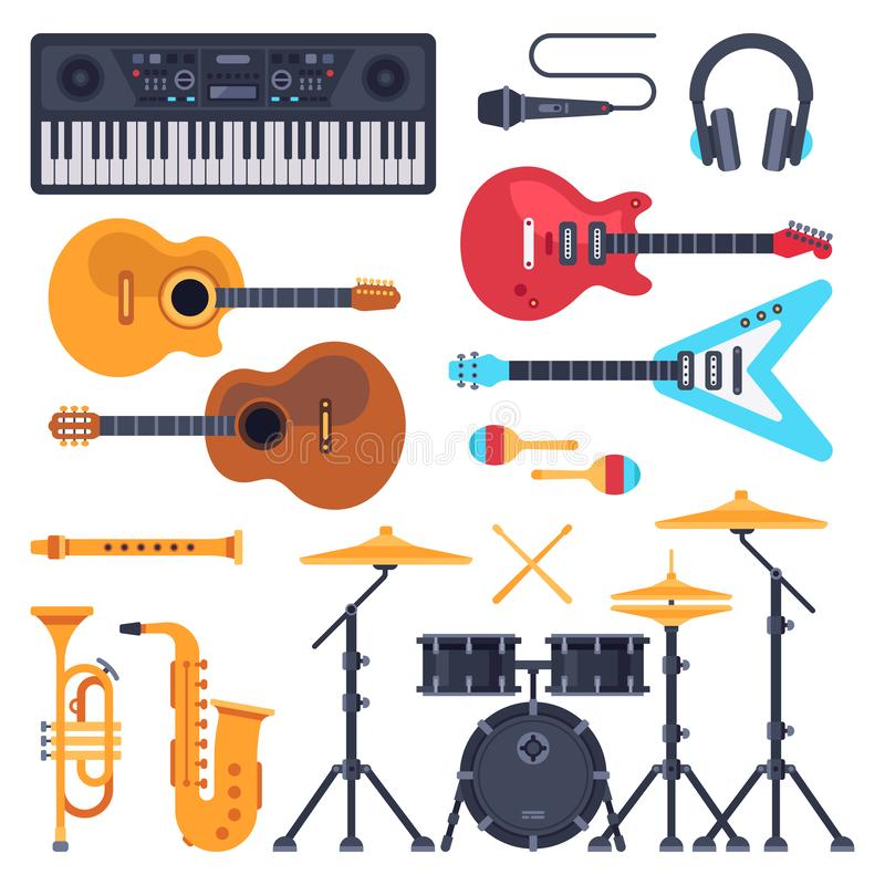 Music instruments. Orchestra drum, piano synthesizer and acoustic guitars. Jazz band musical instrument flat vector set vector illustration