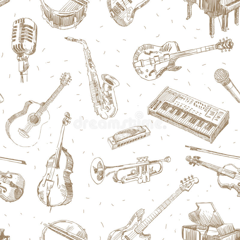 Music instruments pattern royalty free stock photography