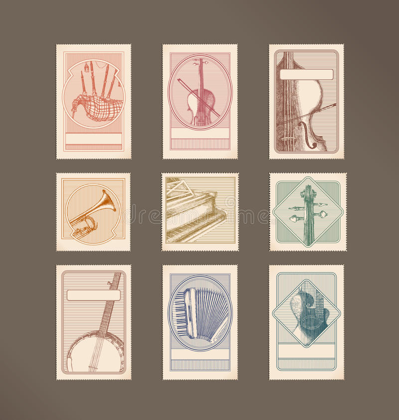 Music instruments stamps royalty free illustration