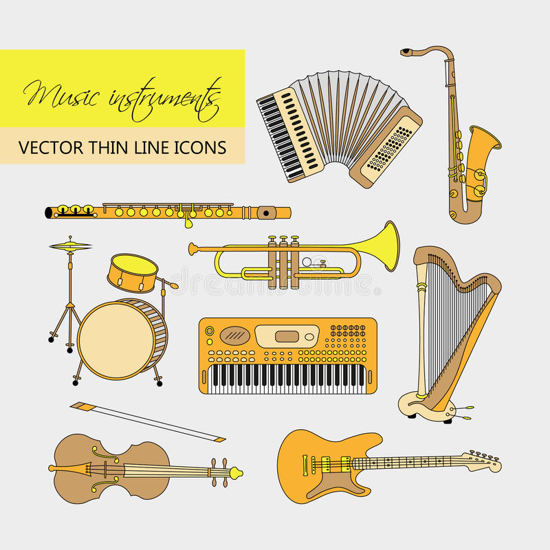Music instruments thin line icon set for web and mobile. Vector thin line icons with different music instruments synthesizer, drums, accordion, violin, trumpet stock illustration