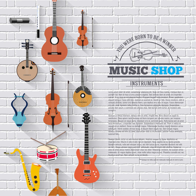 Music instruments on white modern brick wall concept. Icons design for your product or design, web and mobile royalty free illustration