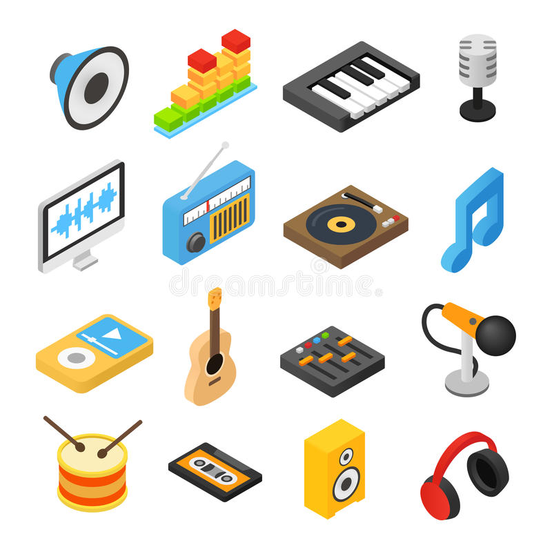 Music isometric 3d icons stock illustration