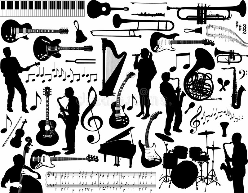 Music items collection royalty free illustration