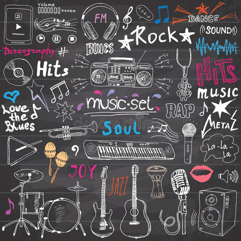 Music items doodle icons set. Hand drawn sketch with notes, instruments, microphone, guitar, headphone, drums, music player and mu stock illustration